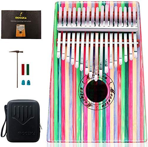 Moozica 17 teclas Kalimba, piano marimba de pulgar de madera de tono sólido de alta calidad con estuche protector e instrucción de aprendizaje (Bamboo-K17CF)