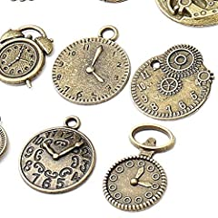 18 Pcs/set Clock Pendant Charms, Multicolored Mixed Antique Bronze Watch Gear Cog Wheel Charms Steampunk Clock Pendant DIY Jewelry Making Accessories #5