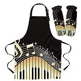 QAZQAZ Delantal Chefs Cocina Delantal de Cocina para Cocina Cuff Piano Keys Note Music Yellow Gradient Home Delantales sin Mangas para Hombres Mujeres Niños Accesorios para Hornear-Apron_Cuff_Set_S