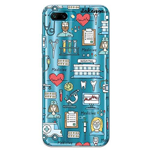 dakanna Funda para [Huawei Honor 10] de Silicona Flexible, Dibujo Diseño [Simbolos Medicina Enfermera Ambulancia Corazón Hospital], Color [Fondo Transparente] Carcasa Case Cover de Gel TPU