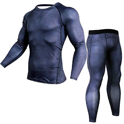 Herren T-Shirts Hosen Set 2 Stück Herren Sportswear Kompressionsanzug Jogger Fitness Base Layer Shirt Leggings Rashguard Kleidung Gr. 34-37, 1