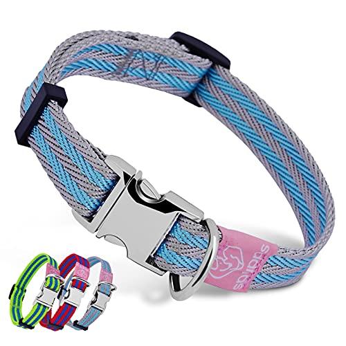 Collar de nailon para perro con hebilla de metal, ajustable, suave, cómodo, para cachorros, niños y niñas, perros grandes (azul)