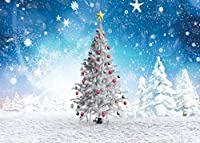 GooEoo 7×5FTクリスマスツリースノーフレークテーマ写真背景ビニール写真背景フォトスタジオ小道具11344