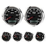 MOTOR METER RACING W Pro Series 6 Gauge Set with GPS Speedometer Programmable Waterproof Black Dial All Sensors Included