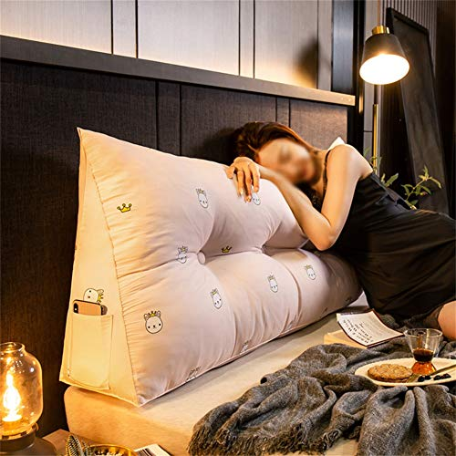 Large Reading Pillow Removable Bedside Back Cushions Sofa Bed Upholstered Headboard Soft Tatami Double Lumbar Support Cushion (Color : A, Size : 120x45x20cm)