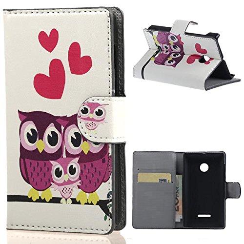 weixin TM PU Leather Cover Case per Nokia Microsoft Lumia 532 Cover Case Protettivo Coprire Pelle Guscio Sacchetto Wallet/Card Slots (Owl#)