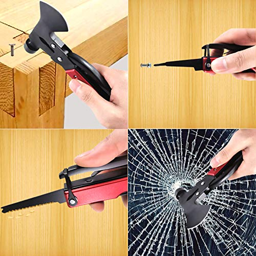 15-in-1 Multitool Hammer All in One Tools, Pocket Camping Accessories Survival Gear, Mini Multitools Axe Hammer Set with Knife, Pliers, Screwdriver, Bottle Opener, Saw, Gift for Men, Women, Boyfriend