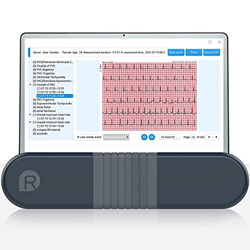 Wellue Monitor ECG, registratore Holter professionale con report di analisi AI-ECG, registrazione ECG 24 ore su 24, software di supporto per PC, stampa ECG PDF, cardiofrequenzimetro per uso domestico