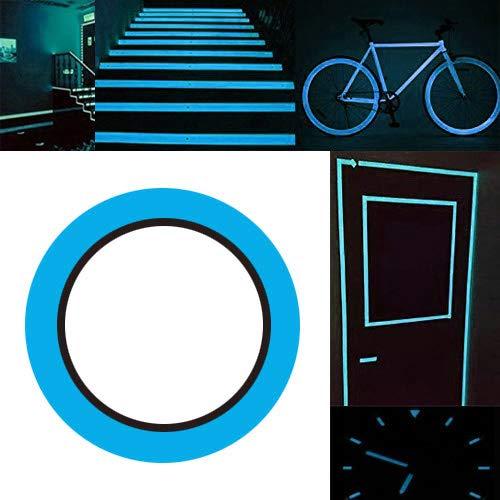 Gebildet Leuchtendes Band, Selbstklebendem Band, Warnband, Luminous Tape, Glow in the Dark, Wasserdicht, Abnehmbar, Sicherheit / 10m×1cm, 1 Stück (Himmelblau)