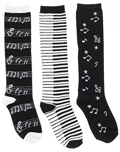 Women's Black White Music Notes, Piano Keys, Instruments Knee High Socks, (3Pr) Size 9-11
