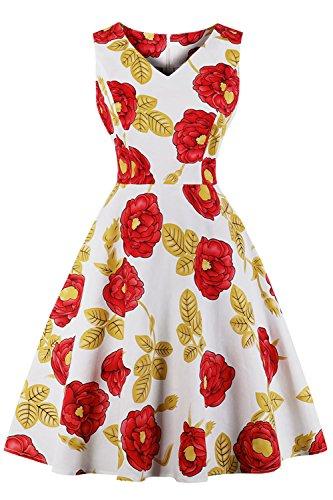AXOE Femme Robe Retro Vintage Pin-up Chic Année 50 avec Motif de Fleurs Genoux Taille S