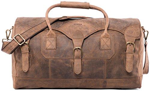 LEABAGS Elche Reisetasche aus echtem Büffel-Leder im Vintage Look - Fallow