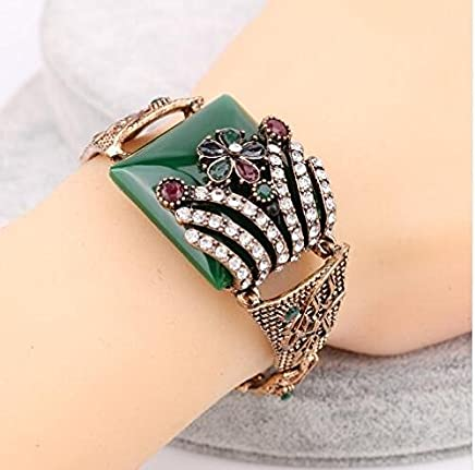 6aa1804239fc Xiaoxiongmao Fashion Vintage Jewelry Red Big Flowers Bracelet For Women  Antique Gold Color Colorful Resin Turkish