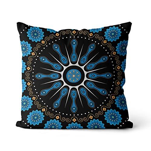 Taie d'oreiller Lotus Mandala Yoga - Impression 3D - Décoration de lit - Coton et lin - Square-OR1801 - 55 x 55 cm