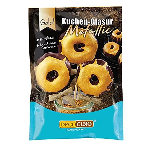 Decocino Metallic-Kuchenglasur Gold – 65 g – fertige Kuchen-Glasur zum Anrühren für Torten, Cupcakes und Cake Pops – ohne Palmöl und laktosefrei