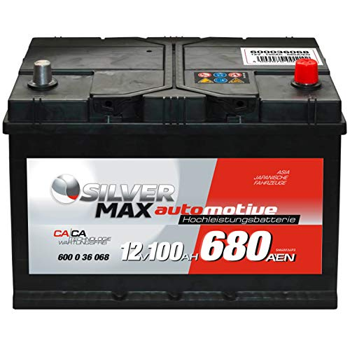 SilverMax ASIA Autobatterie 12V 100Ah Starterbatterie 60036 Japan Pluspol rechts 95Ah