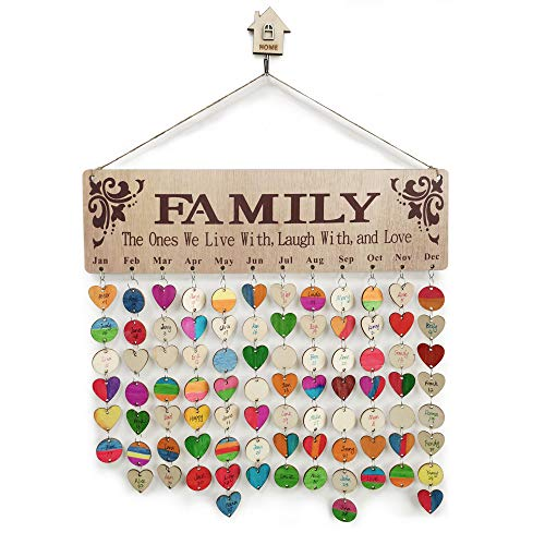 Wooden Calendar Birthday Reminder Wall Hanging Board Plaque, with Wooden Ornaments Unfinished Wood Slices 100 PCS Wooden Discs, DIY Wooden Crafts for Family Friends Birthday Reminder Home Wall Decor