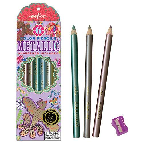 6 lápices de colores Jumbos metálicos - pájaros dorados