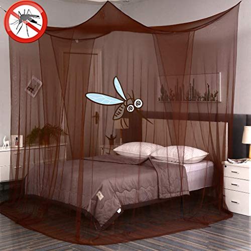 Obokidly 4 Doors Mosquito Net Four Corner Post Bed Canopy for Full/Queen/King Size Bed Can Be Used with Or Without Four-Post Bed (Light Brown, One Size)