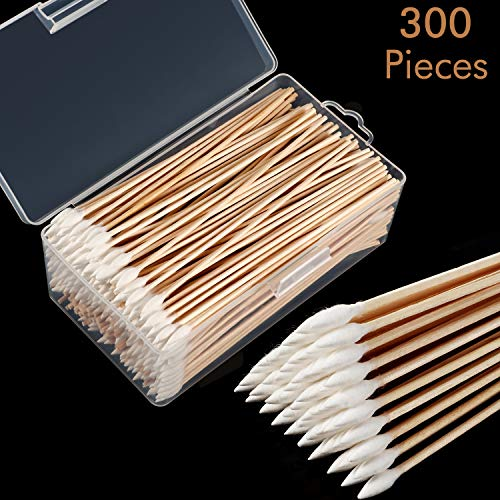 Norme 6 Inch Caliber Cotton Cleaning Swabs Round/Pointed Tip with Wooden Handle Cleaning Swabs for Jewelry Ceramics Electronics in Storage Case 300 Pieces Pointed Tip