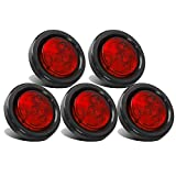 Partsam 5pcs 2' Red Round Sealed Clearance Marker Light 4 LED Mount Grommet / Pigtails Hardwired
