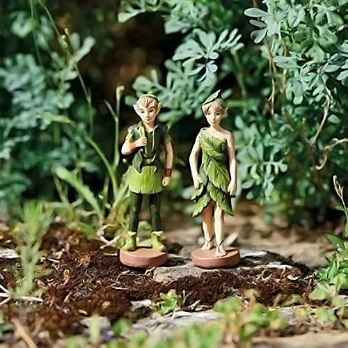 HomeZone Enchanted Miniatur-fee Figurinen märchen-Garten Ornamente Elfe Wald Elfen Forrest Feen Baum-Dekoration Garten oder zu Hause Ornamente - 2pc Woodland Elves