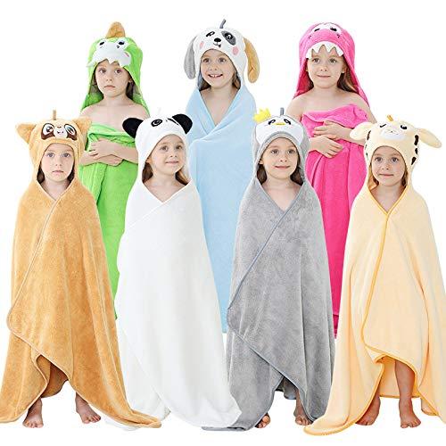 riou Kleinkind Baby Jungen Mädchen Bademantel mit Kapuze Winter Flanell Warm Decke Umhang Wickeln Badeponcho (Hellblau)