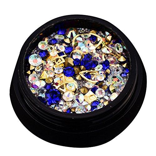 Nail Art Strass, mixed 3d per unghie decorazione cristalli con piatti e taglienti ruchen e strass pietre??Per il fai da te Nail Art (blu)