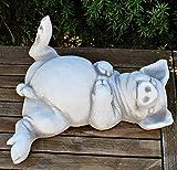 JS GartenDeko Deko Figur lustiges Schwein auf Rücken liegend L 33 cm/H 11 cm Dekofigur Gartenfigur aus Beton