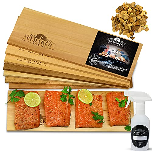 Grilling Planks Set - 8 Natural 100% Cedar Boards, Amazing Cedar Aroma, For Salmon, Shrimp, Fish, Vegetables, Apple Chips For Smoking, Cocktail Drinks, & Non-BPA Spray Bottle, Gift Set For BBQ Master