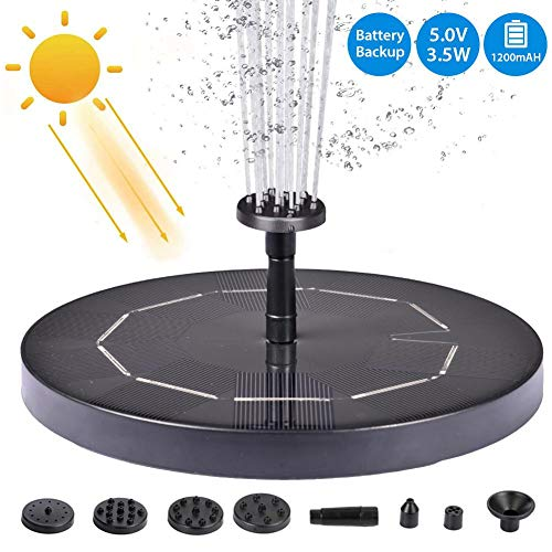 5V/3.5W Upgraded Solar Fountain Pump,Solar Powered Water Fountain Pump for Fish Tabk, Garden Pond, Swimming Pool Outdoor,Solar Bird Bath Fountain with 6 Nozzle