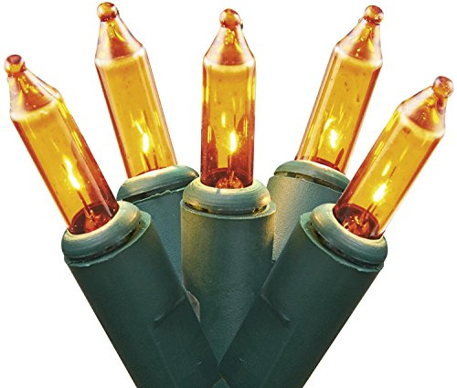 Holiday Pride Ultra-Brite Gold Lights on Green Wire - Indoor / Outdoor Use - Set of 100 - UL Listed