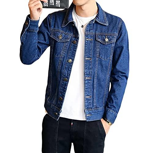 Jean Jackets for Men Slim Fit Blue Mens Long Sleeve Button Down Cotton Solid Trucker Demin Jean Jacket Black (Dark Blue, XL)