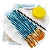int!rend Kit di pennelli 16x   12 pennelli Nylon, 2 tavolozze di miscelazione, 1 Spugna, 1 Matita   per Acquerello, Acrilico e Colori ad Olio I Set di pennelli per Diversi progetti