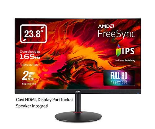 Acer Nitro XV0 (Nitro XV240YPbmiiprx) 60,5 cm (23,8 Zoll) IPS Monitor Matt (HDMI, DP, Full HD 1920 x 1080, 1ms, 144 Hz, 400 Nits, Höhenverstellbar, Pivot, Free Sync) Schwarz
