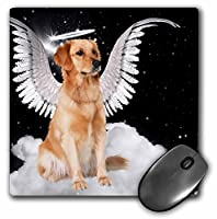 3drose LLC 8x 8x 0.25インチマウスパッド、Golden Retriever Angel犬Sitting on a Cloud with a cute Halo and Angel Wings ( MP _ 62894_ 1)