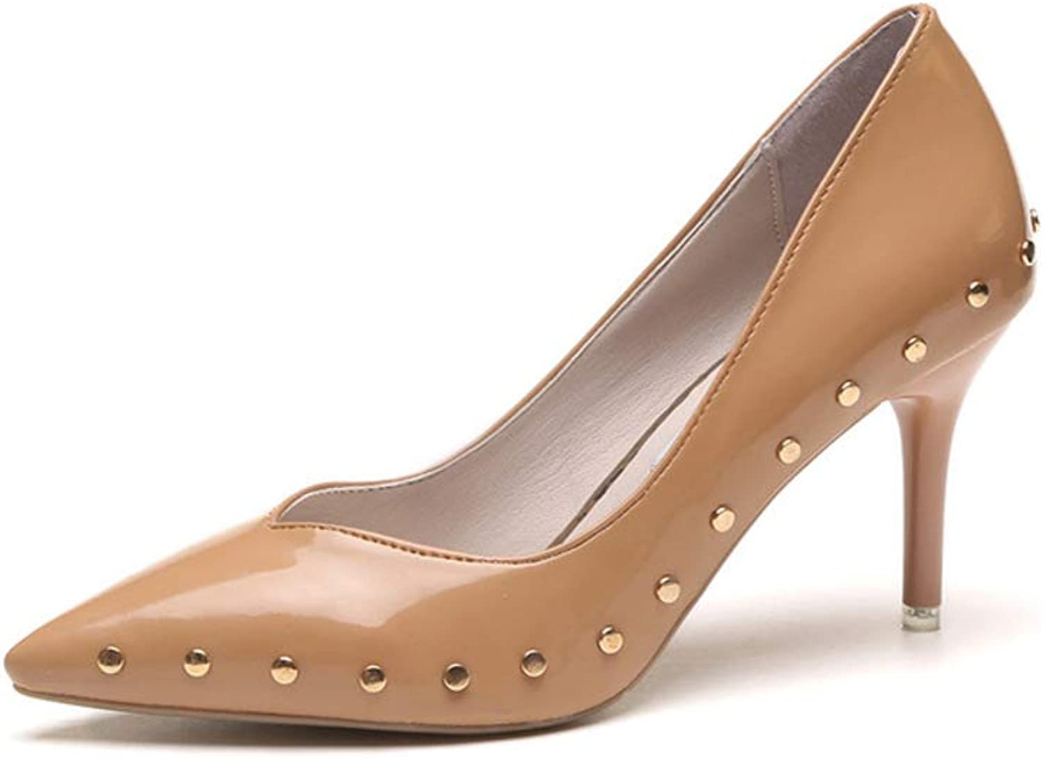 Women's High Heels Pointed Shallow Mouth Fashion Rivets High Heels