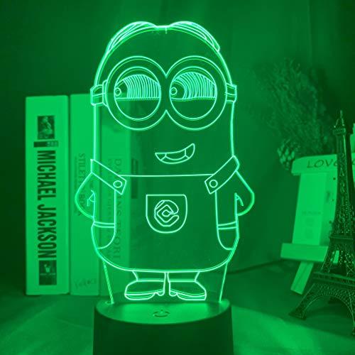 3D Nacht Licht Led Nacht Licht Kleur Veranderende Touch Sensor Nachtlampje voor Kind Kids Slaapkamer Decor Kleine Minion 3D Lamp Nachtlampje