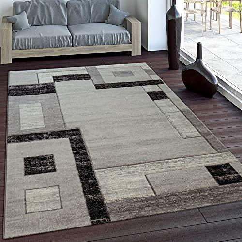 Paco Home Elegante Tappeto Firmato con Bordo A Quadri in Grigio E Nero mélange, Dimensione:80x150 cm