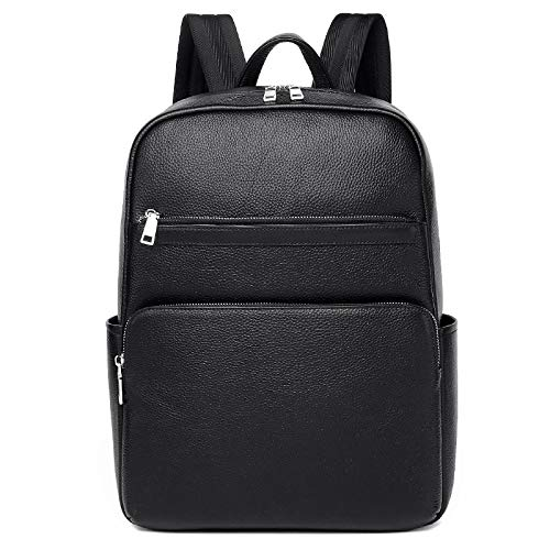 Computer bag leather men header layer of leather shoulder bags leisure large capacity jianmeiliao (Color : Black, Size : 15 inches)