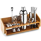 Mitbak Bartender Kit | 20-Piece Bar Accessories Set | Look Like A Pro With 25 OZ Cocktail Shaker Bottle, Strainer, Jigger, Steel Straws, Whiskey Stones & More | Excellent Gift