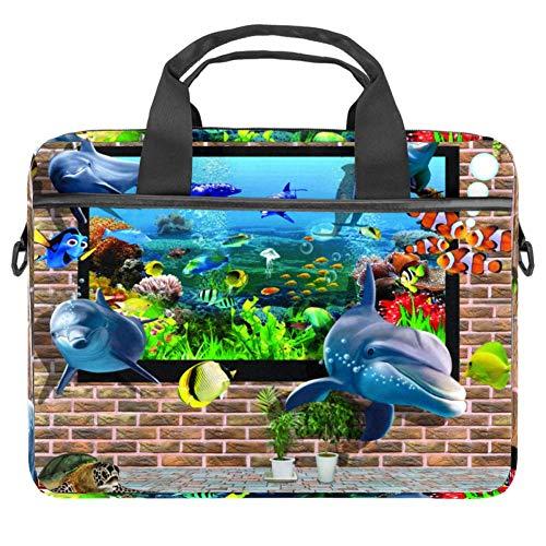 Fish Out from Aquarium Laptoptasche Messenger Bag Slim Aktentasche mit Umhängetasche Computer und Tablet Tragetasche für 13.4-14.5 Zoll