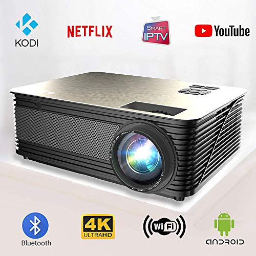Smart Projector Android 6.0 WiFi Bluetooth Full HD 1080p Native, 4K Digitales Theatersystem für Heimkino, Spiele, Büro, Film, Laptop, Handy, iPad, tragbare PowerPoint-Präsentation USB HDMI LED