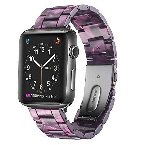 Correa de reloj de resina, correa de pulsera de repuesto de moda compatible con Apple IWatch Series 6/5/4/3/2/1 con correa de hebilla de acero inoxidable Mujer Hombre (38 mm / 40 mm, 42/44 mm)