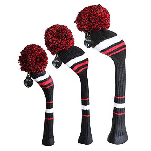 Meili Dark Color Knit Golf Headcover Set di 3 per Legno di Driver, Fairway e Ibrida, Collo Lungo, Grande Pompon, Uomo, Black White Red Stripes
