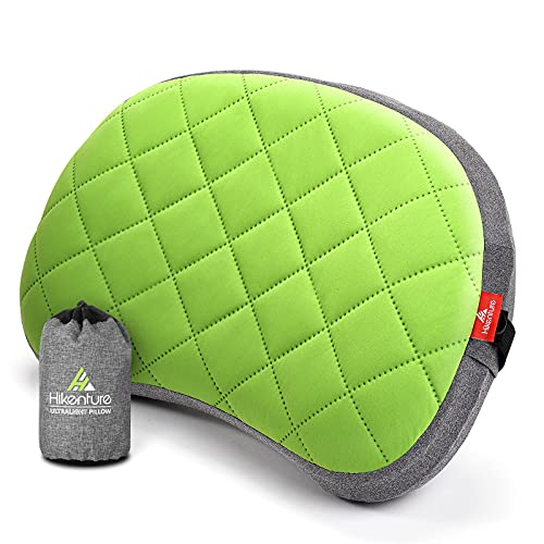 HIKENTURE Aufblasbares Camping Kissen mit abnehmbaren Bezug, Reisekissen aufblasbar leicht, Ergonomisches Kissen Unterwegs, Aufblasbares Kopfkissen Campingkissen Outdoor, Inflatable Pillow-Green