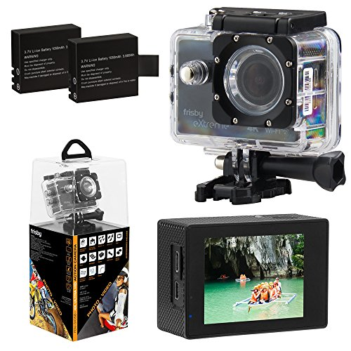 Extreme 4k Wi-Fi Action Camera Ultra HD 4k 30fps 2.7k 30fps 1080 60fps 720 90fps 170° Wide Angle Waterproof Camcorder 16MP Photos w/ 2 Batteries by Frisby