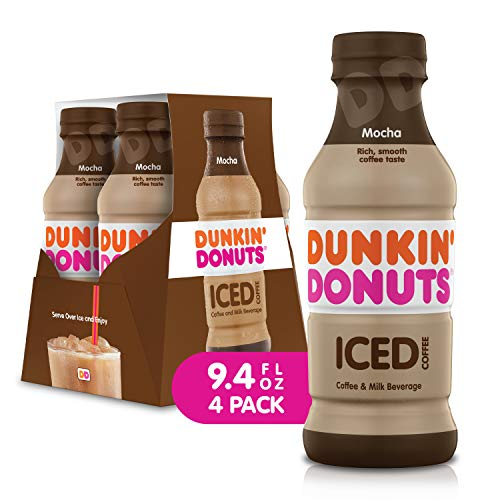 Dunkin Donuts Iced Coffee Beverage Mocha 94 Fluid Ounce Pack of 4