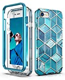 Coque Hasaky pour Apple iPhone 8 Coque, Coque iPhone 7, Coque iPhone SE 2020, Coque iPhone 6s/6, Double Couche Bleu Marine Design Marbre TPU + PC Coque de Protection Antichoc Anti-Rayures Robuste - Bleu/Marbre.