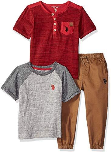 U.S. Polo Assn. Boys' Toddler T-Shirt and Pant 3 Piece, Khaki Jogger Set Red, 2T